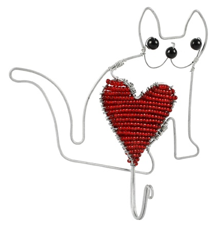 Hook for cat lovers, $19, with free delivery in Australia, from www.wiredandwonderful African homewares and gifts