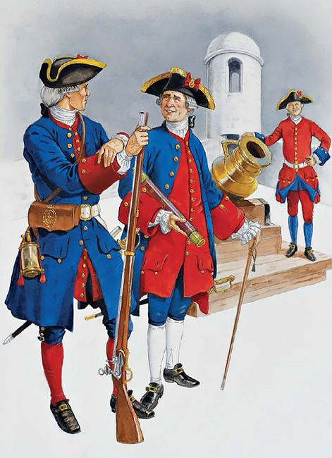 Florida & West Indies, c. 1730s-1763 • Infantry private, c. 1735-40  • Infantry officer, c. 1740  • Artillery gunner, c. 1755