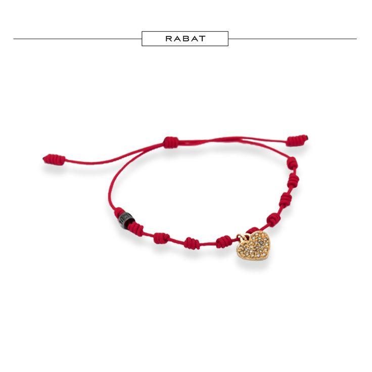 Pulsera de hilo rojo con charm corazón de oro rosa y pavé de brillantes brown…