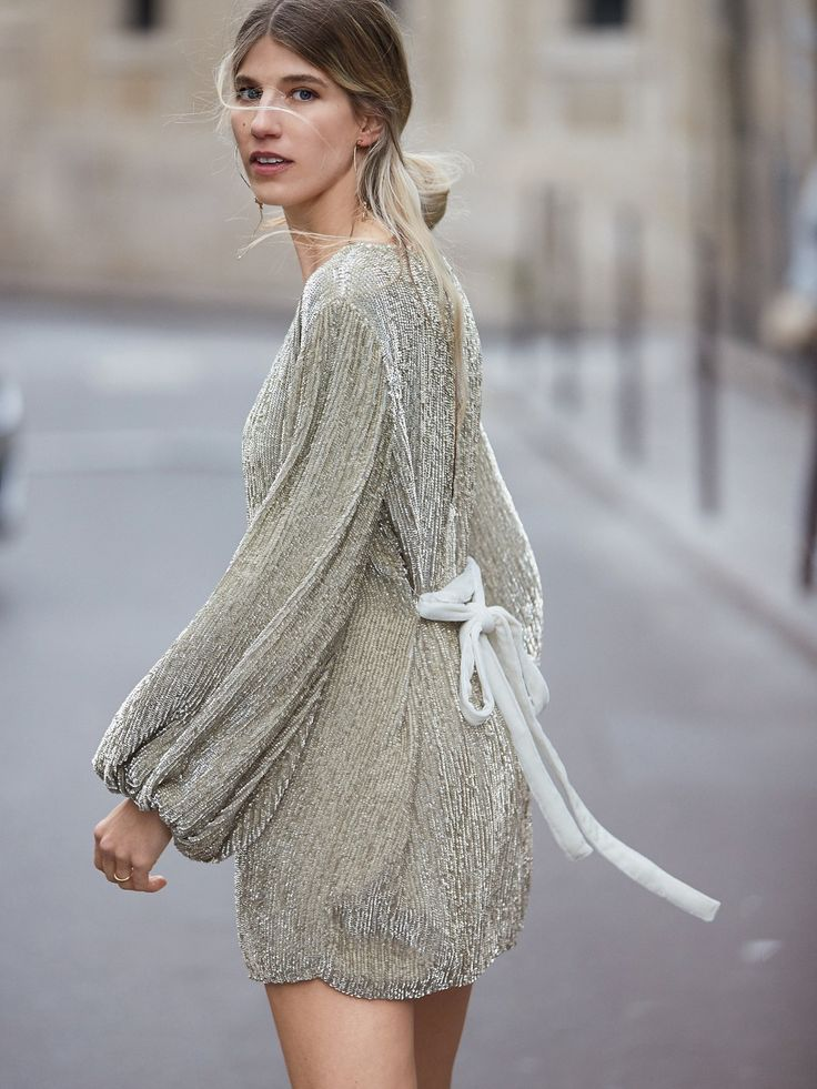 Silver Moonglow Sequin Mini Dress at Free People Clothing Boutique