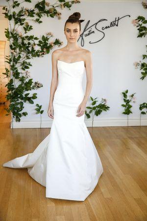 Structured and minimalist strapless wedding dress by @austinscarlett | Bridal Market Fall 2016