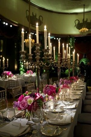Tall silver candelabras and jewel-tone centerpieces | photography by www.davidwittig.com/