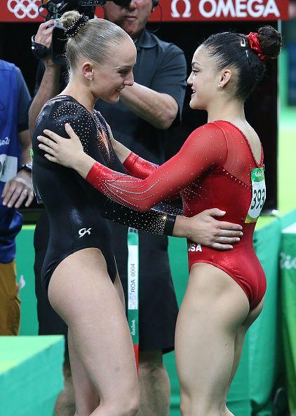 Silver medalist Lauren Hernandez of USA greets gold medal Sanne Wevers of the…