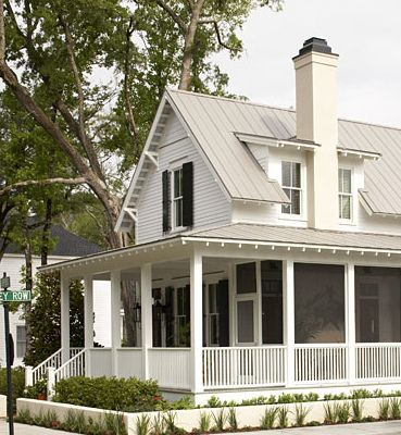 I covet a big white farmhouse with a wraparound porch and for Farmhouse metal roof