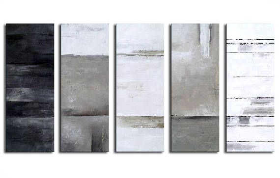 ABSTRACT PAINTING - Original Canvas Art Contemporary Abstract Modern Art 32x60 inch abstract wall art black white gray structure