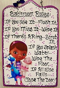 7x11 Doc Mcstuffins Bathroom Rules Sign Plaque Bath Handcrafted Disney Wood