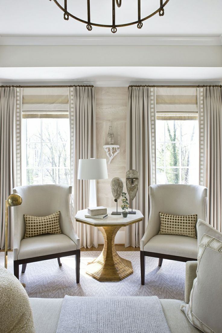 Living Room Draperies And Roman Shades. Living Room With Horizontal Stripe  Roman Shade   Roman Shade Mounted At Height Of Rod. PERFECT DRAPES FOR 3258  Via ... Part 65
