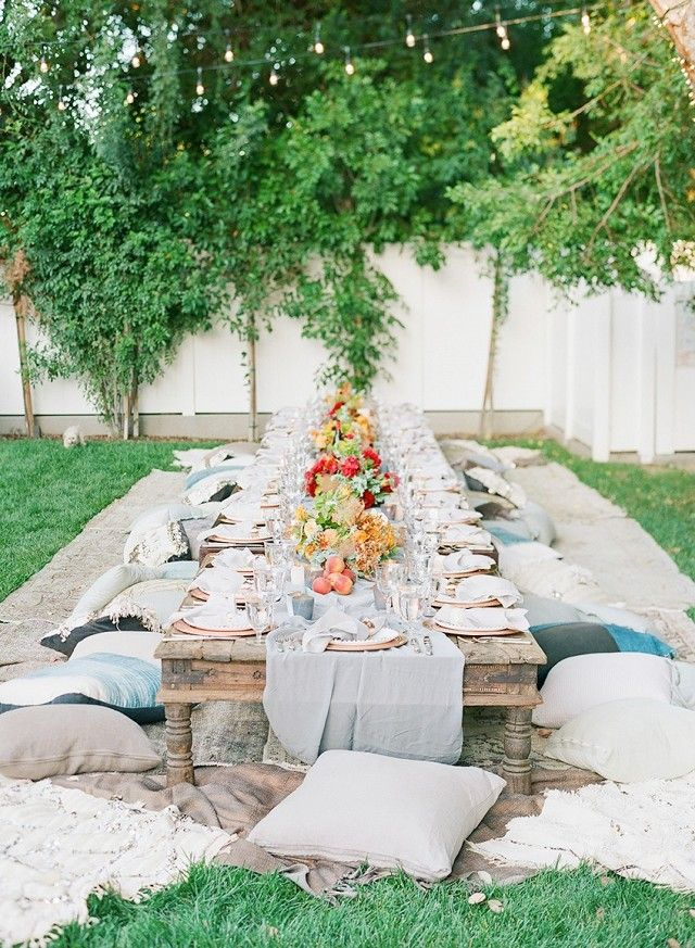 Boho party without a low table and an eclectic mix of floor pillows
