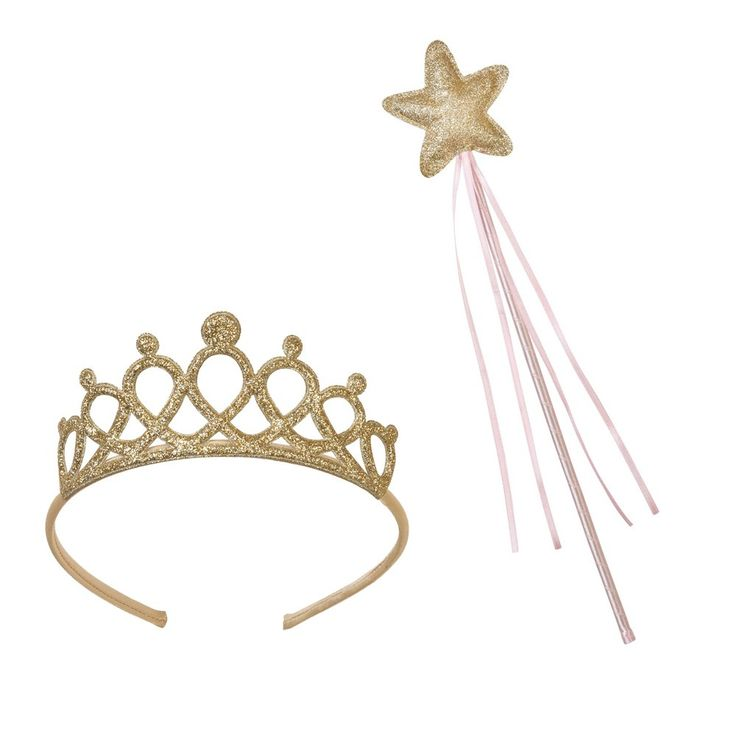 Set bacchetta e coroncina principessa rosa e oro