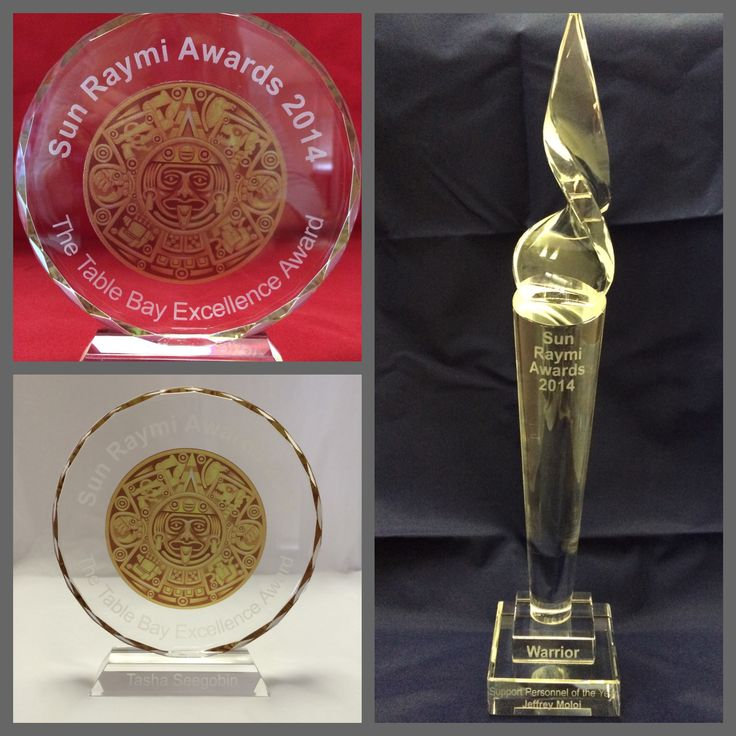 ENGRAVED CRYSTAL TROPHIES created for the Sun International Awards 2014 www.ccpromos.co.za
