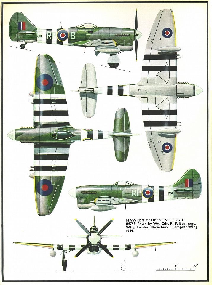 1942-1944 Hawker Tempest. Fighter. RAF. Engine: 1 x Napier Sabre IIA or IIB or…