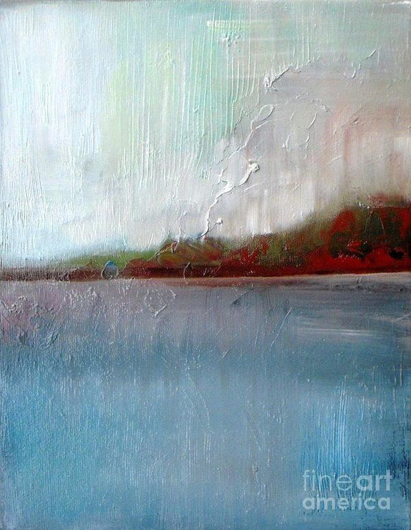 Lake Print featuring the painting Ocean Peace by Vesna Antic