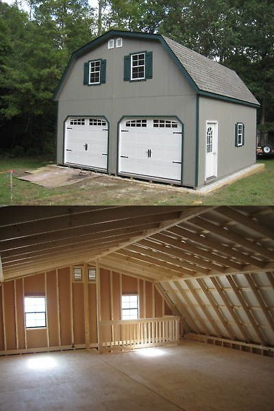 Garden and Storage Sheds 139956: Amish 20X20 Double Wide Garage Gambrel Roof Structure -> BUY IT NOW ONLY: $16000 on eBay!