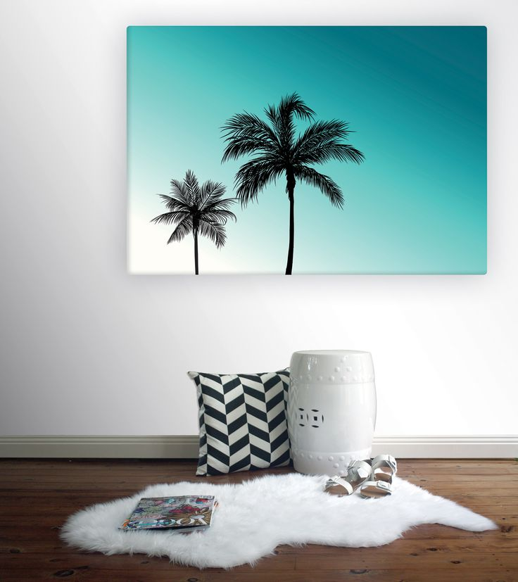 LA Palms Canvas from Wallstudio - iconic palm tress against a clear turquoise-blue sky. Summer, Beach and coastal wall art canvas.