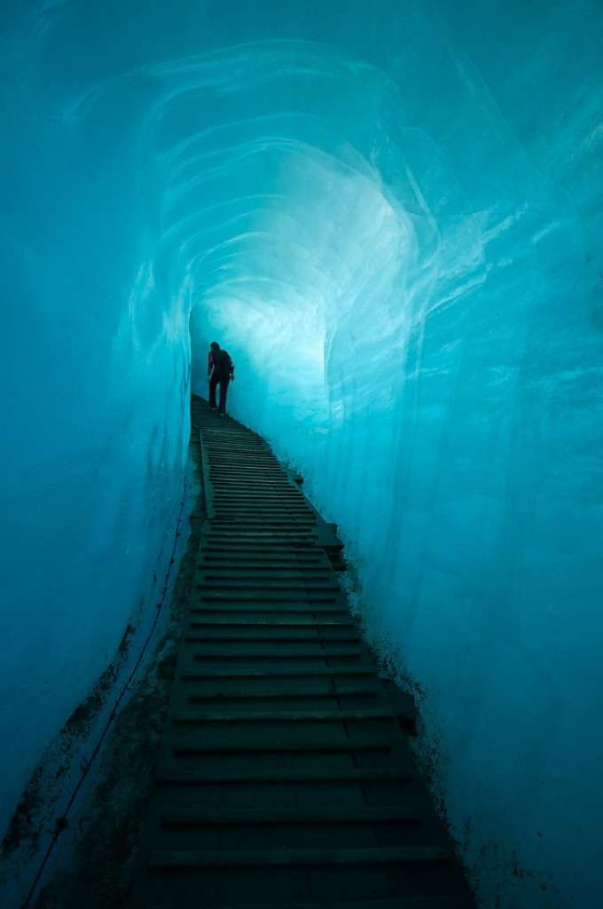 The man-made tunnel inside the Rhone Glacier. Valais, Switzerland. Photo: Lance Richardson.