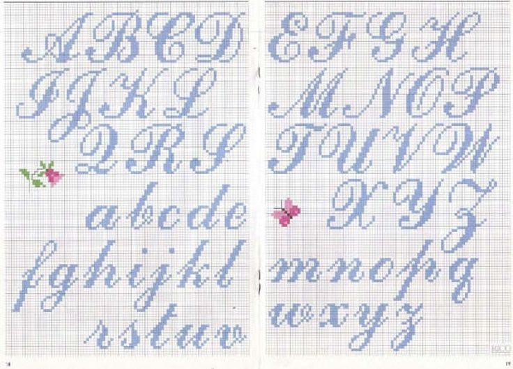 alfabeto punto croce corsivo azzurro - magiedifilo.it punto croce uncinetto schemi gratis hobby creativi