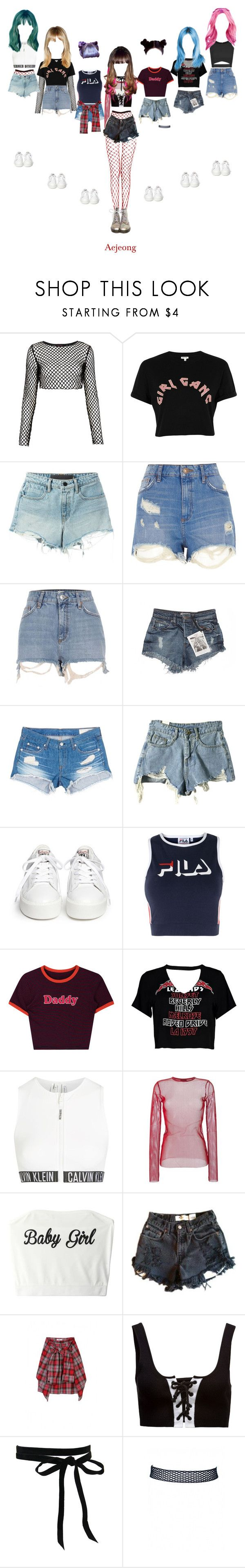 """Aejeong • One More Time"" by kkomppul ❤ liked on Polyvore featuring Motel, River Island, T By Alexander Wang, GUESS, rag & bone/JEAN, Ash, Fila, Boohoo, Calvin Klein and G.V.G.V."