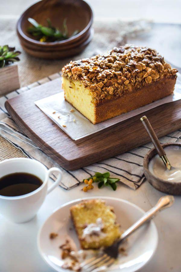 Orange Polenta Loaf Cake with Almond and Oat Streusel