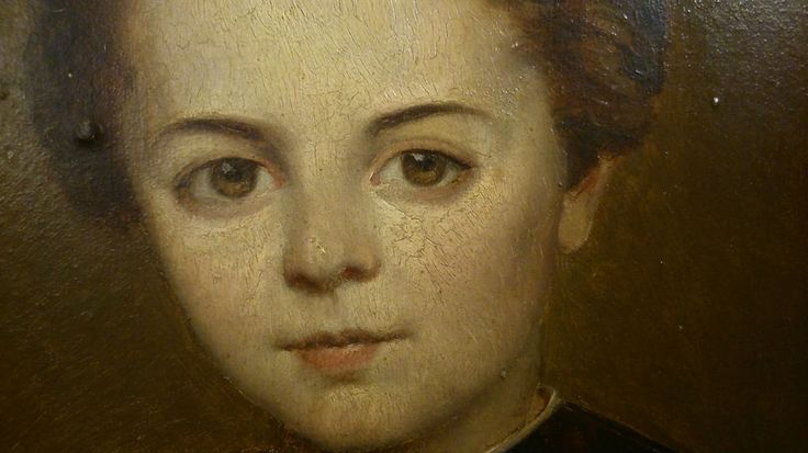 Joli Portrait Fin XIX° La Touche Ancienne Anonyme a identifier huile sur Panneau