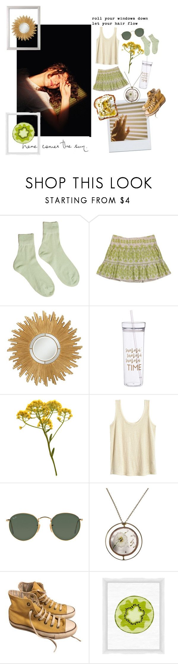 """""""Sunny days"""" by pisces06-03-01 ❤ liked on Polyvore featuring Hansel from Basel, Nanette Lepore, Universal Lighting and Decor, Ray-Ban, Converse and PTM Images"""