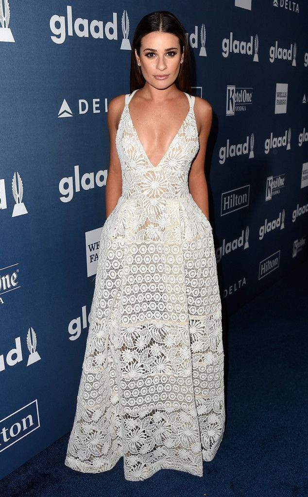 Lea Michele from The Best of the Red Carpet  White crochet and a plunging neckline make this Elie Saab gown a delicately delightful combination.