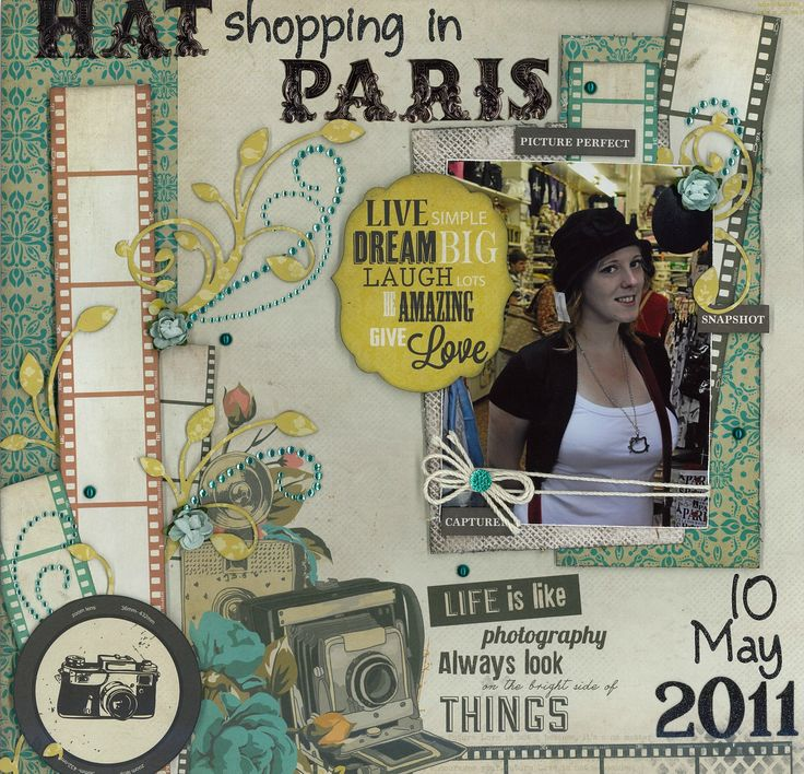 *~*~* Hat Shopping! *~*~* This page is made with the 'Close Up!' paper range from Kaisercraft. #purplehedgehog #travel #paris #scrapbook #layout #scrapbookpage #france