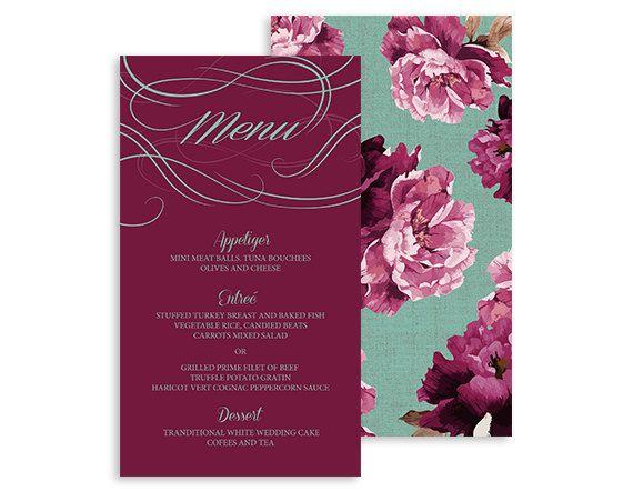 Printable Reception menu card - Boho Vintage - Swirls and Twirls Floral Dinner Menus - Burgundy, Marsala, mint - 4x7   Swirls and Floral by NicyaPrintables on Etsy