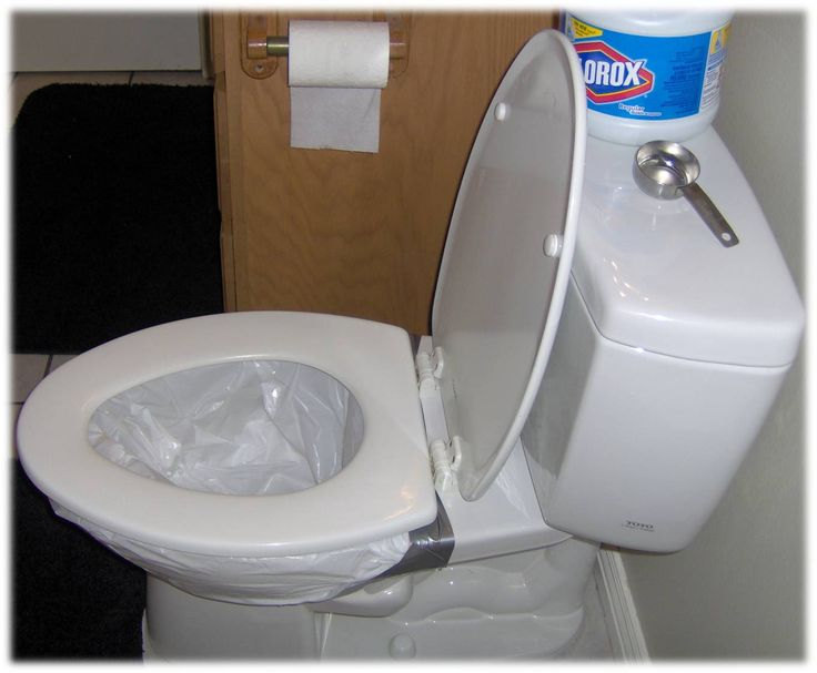 Converting a regular toilet to emergency toilet. Shut off water. Flush water out of bowl. Line bowl with 13 gal. plastic bag. Duct tape edges. Tape handle to prevent accidental flush. You can add a few cups of kitty litter to the bag or simply pour some bleach in the bottom of it. Have twist ties handy for daily disposal. Cover entire toilet with a 30 gal bag to control odor.