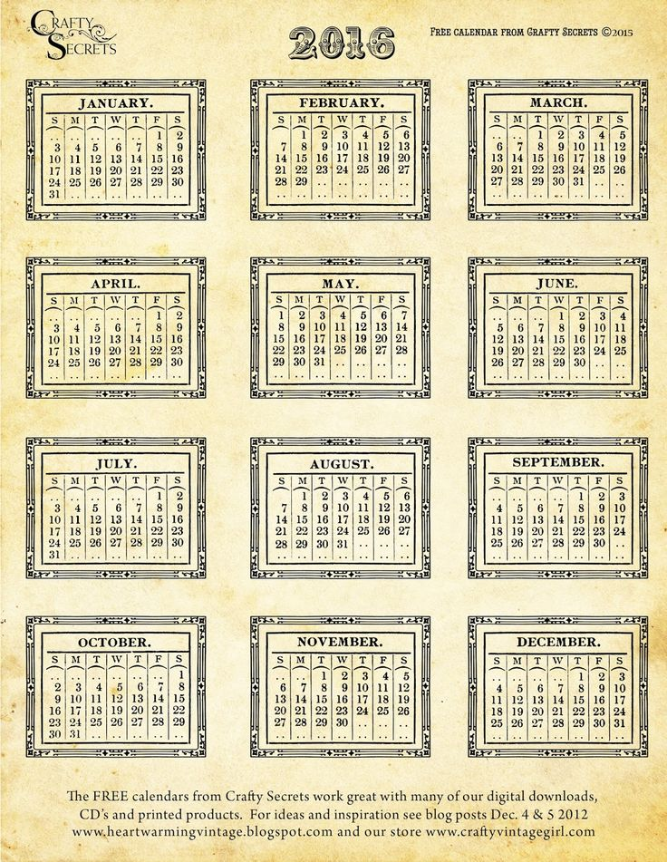 See 4 New Free Printable 2016 Vintage Calendars, Plus Color Me Blank Art Calendar and Inspiring Calendar Ideas. GET FULL SIZE FILES with link to Blog.