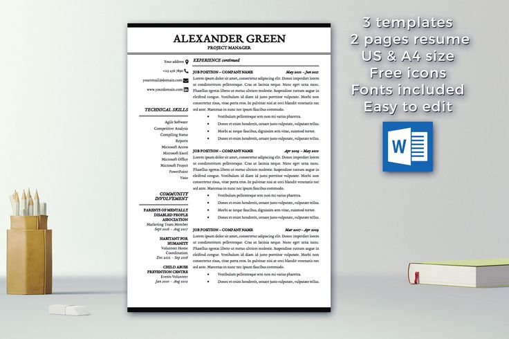 Resume Template Instant Download 1 \ 2 pages CV Template - resume 2 pages