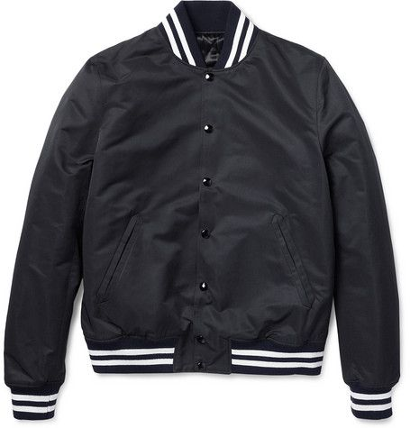 Shop the Video: Baseball Jackets From the Vogue Closet  Sandro slim-fit quilted varsity jacket, $515