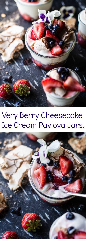 Very Berry Cheesecake Ice Cream Pavlova Jars   halfbakedharvest.com @hbharvest