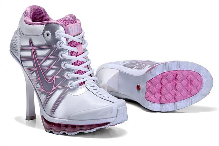 White Silver Pink Nike Air Max 2009 Heels Boots Nike Stilettos 2