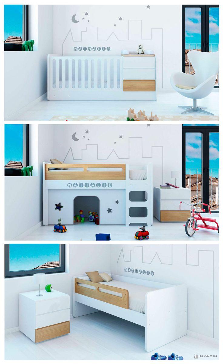 """Cuna convertible infantil Alondra, colección UP NATURE. El único """"konver"""" que se transforma en cabaña de juegos. ¡Es fantástico! Modern baby crib. Cama convertível. Lits bébé évolutifs. ¡Enjoy!"""