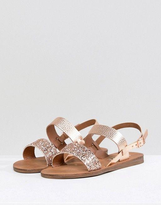aa95b532ff0 Office Honey Rose Gold Glitter Flat Sandals