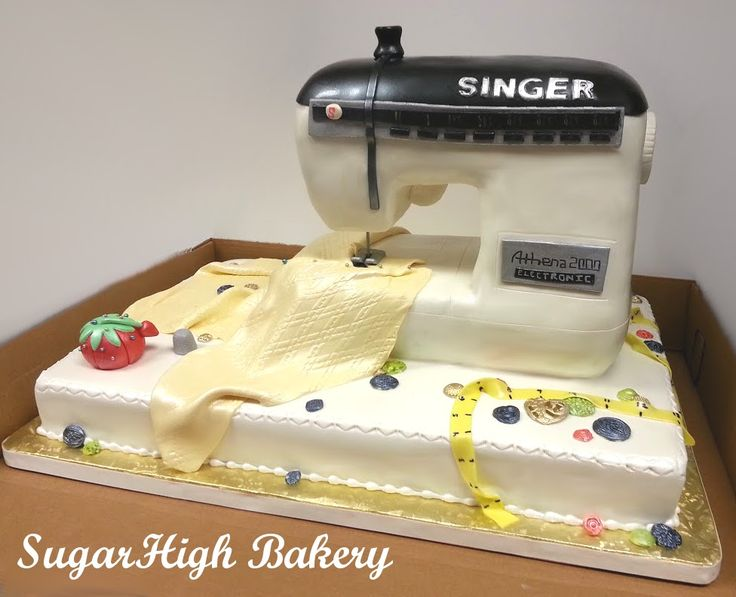 Sewing Machine Cake - Front - Cake for a 75th Birthday