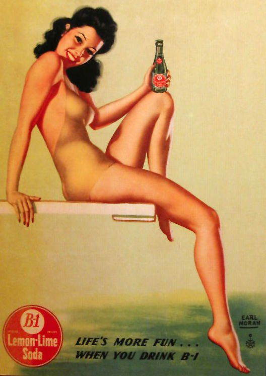 "1946 Earl-Moran-pin-up-girl card advertising B-1 LEMON LIME SODA POP.   According to an article on the PsychiatryOnline website, ""The 1930s and 1940s saw the introduction of such products as "" Wake-Up ,"" ""Heads Up,"" and ""B1."" All of these products were lithiated and believed to be helpful for alcoholic hangovers."