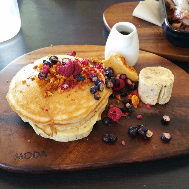 Pancakes with pecan butter cream at Tropico, North Beach. Everything about this place is stunning! | Morsels