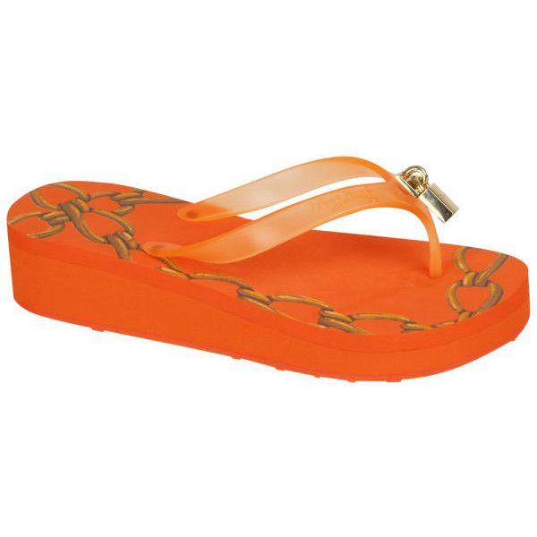 Miss Trish Women's Lock Wedged Flip Flops - Hot Orange ($22) ❤ liked on Polyvore featuring shoes, sandals, flip flops, hot orange, strappy sandals, orange wedge sandals, wedges shoes, miss trish sandals and strap sandals