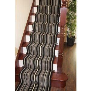 """Lima 459 Grey Black Stripes Extra Long Stair Carpet Runner - 70cm (2ft4"""") Wide - Runner Rugs"""