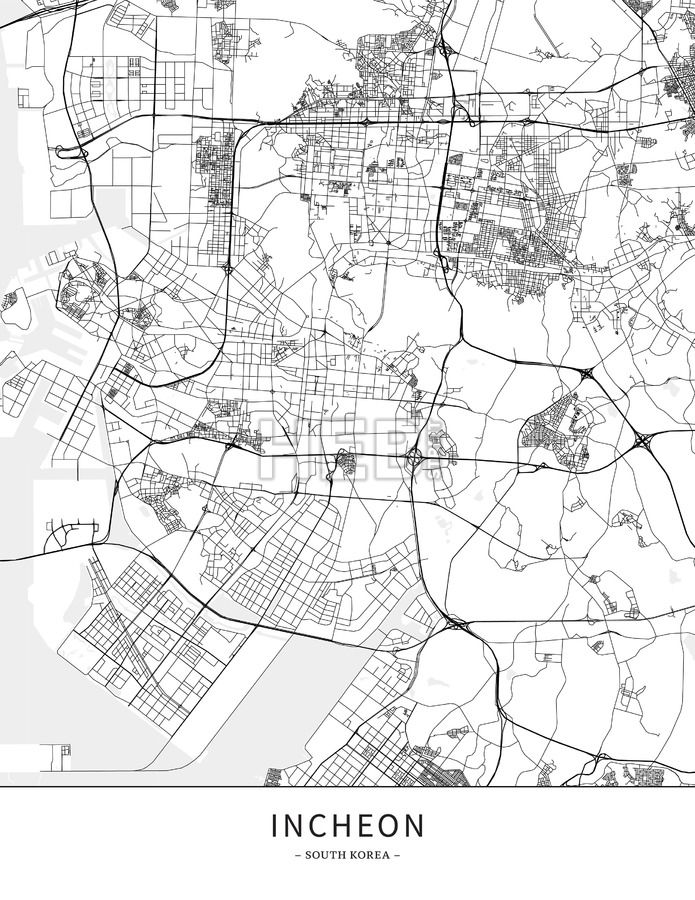 Incheon, Korea, South, Map poster borderless print template.  Black streets, railways and grey water on white. This map will show only basic shapes fo... ... #download #poster #map #stockimage #graphic #cityposter #citymap #city