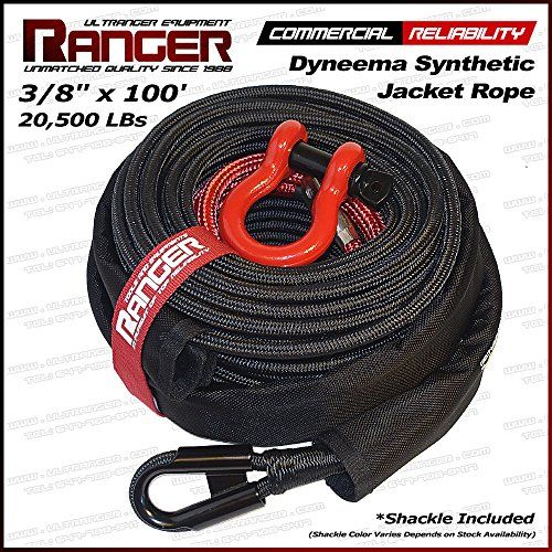 "Ranger 3/8"" x 100' Jacket Dyneema Synthetic Winch Rope 20,500LBs with Removable Rock Guard by Ultranger. For product info go to:  https://www.caraccessoriesonlinemarket.com/ranger-38-x-100-jacket-dyneema-synthetic-winch-rope-20500lbs-with-removable-rock-guard-by-ultranger/"