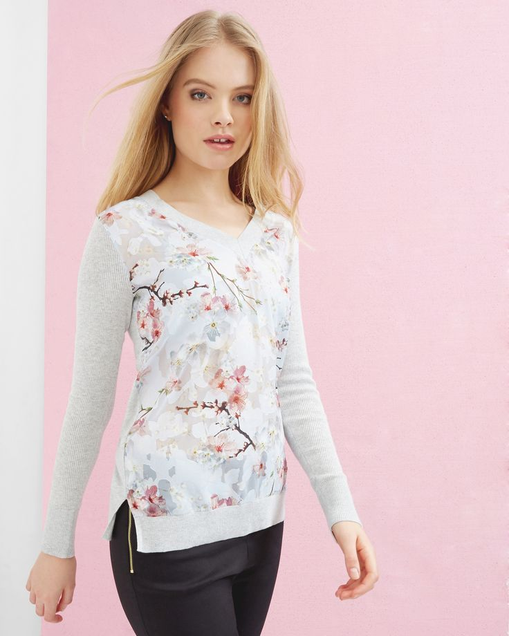 Oriental Blossom silk-blend jumper - Light Gray | Sweaters | Ted Baker