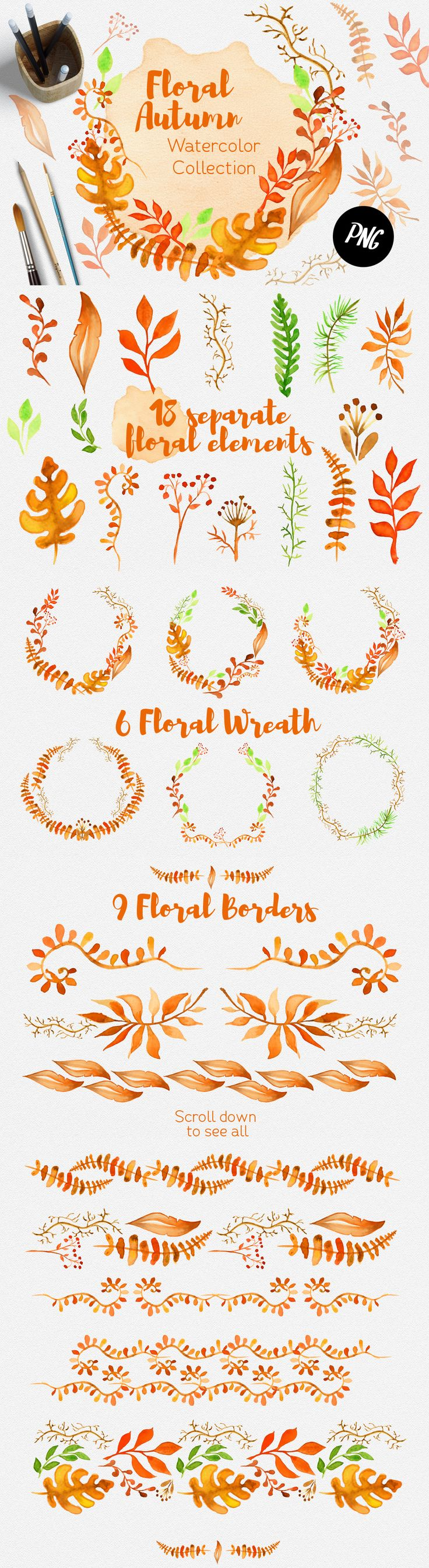 Floral Autumn Watercolor collection by Evgeniia on @creativemarket
