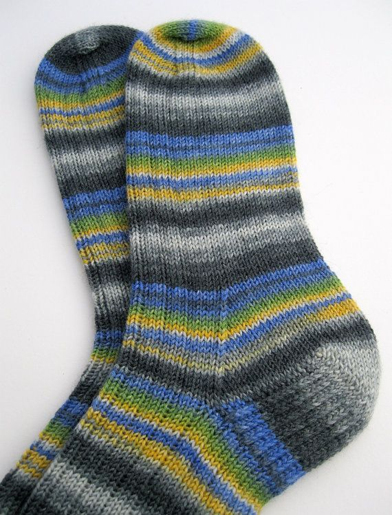 Hand Knitted Socks made with Opal yarn by SpacefrogSocks, available on Etsy