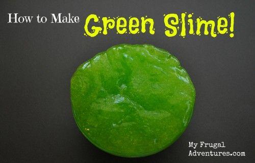 Easy green slime recipe- just tweak the ingredients to make it glittery or glow in the dark!