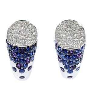 A beautiful pair of diamond, sapphire and amethyst earrings