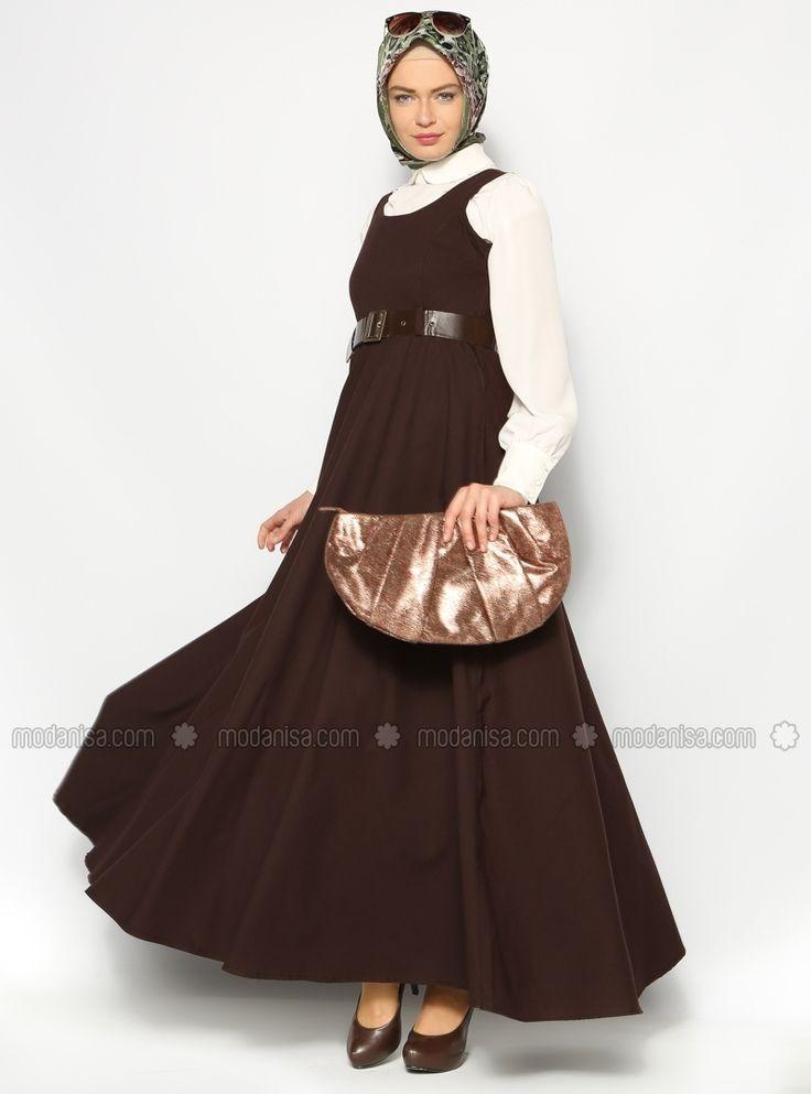 Kemerli Jile Elbise - Kahve - Sultan- ı Yegah