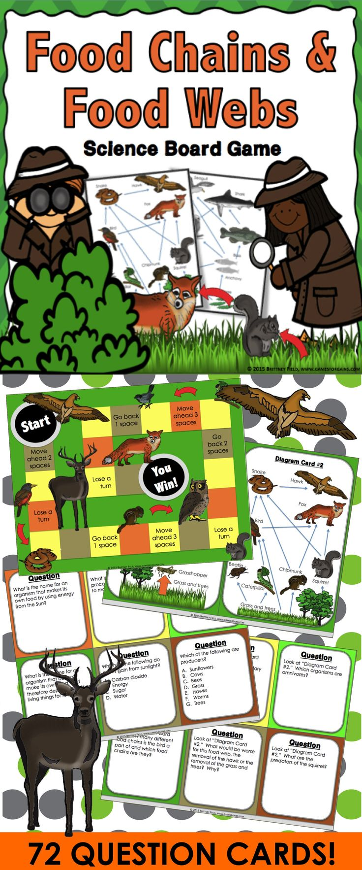 This game contains 72 game cards and a game board to help students practice key vocabulary and concepts related to food chains and food webs. This is great as a pair/group activity or for use in science centers.