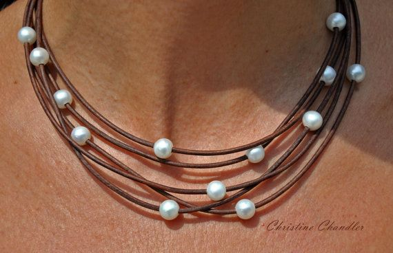 Pearl and Leather Necklace - 5 Strand Brown and white pearls - Pearl and Leather Jewelry Collection